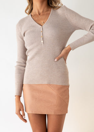 Melina Knit Top - Oatmeal