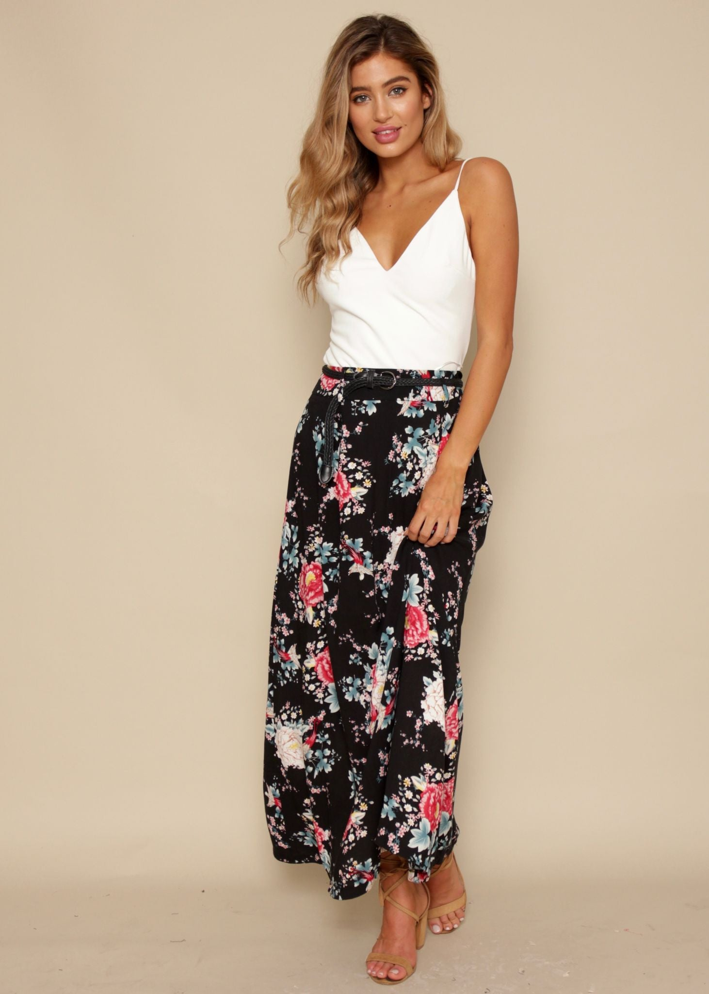 Sway My Way Maxi Skirt - Black Floral