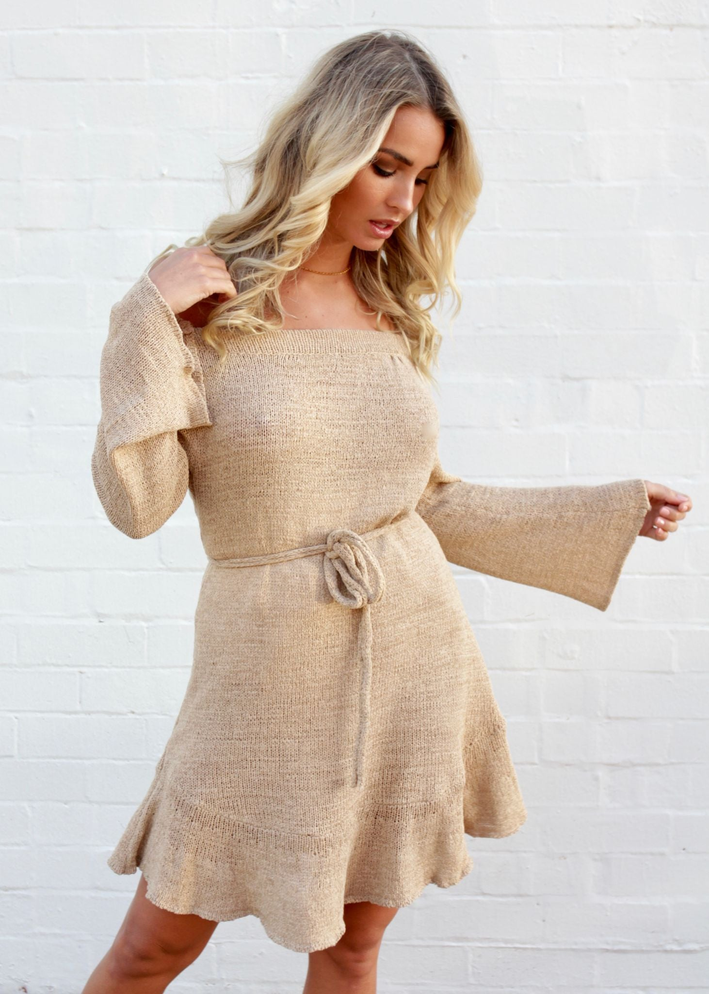 Into My Arms Off Shoulder Dress - Sand