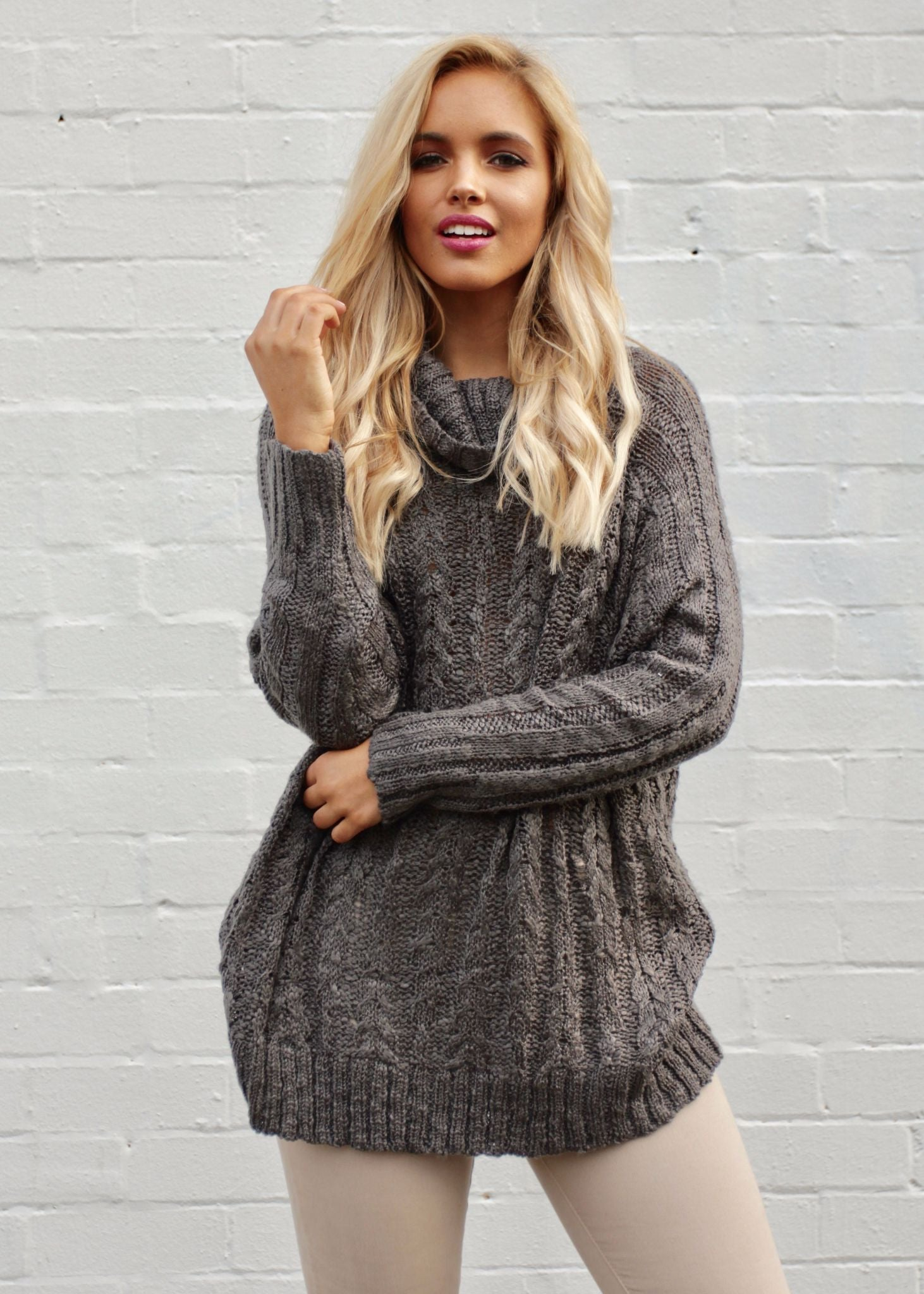 Wild Side Roll Neck Sweater - Charcoal