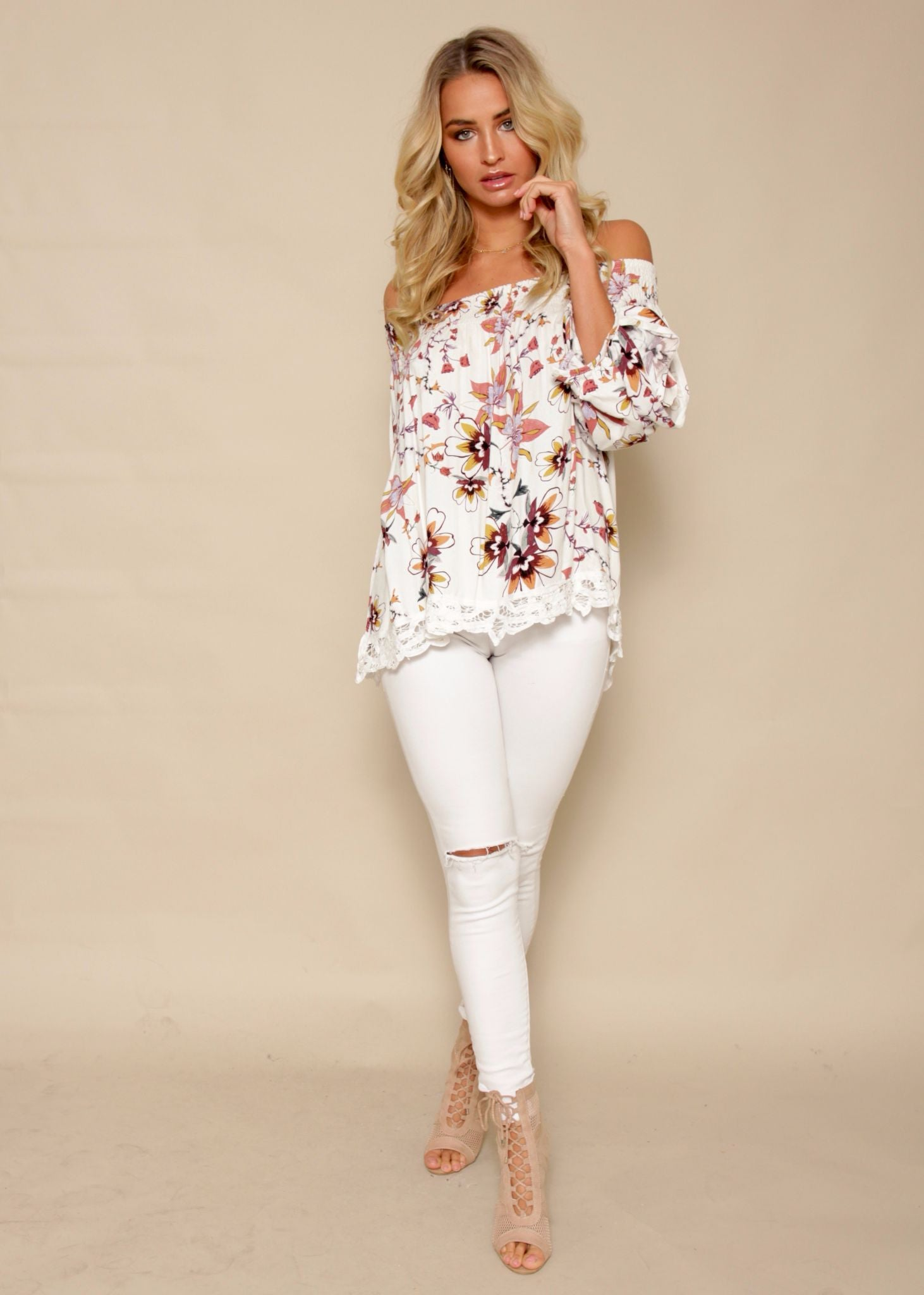 Camilla Off Shoulder Top - Vanilla