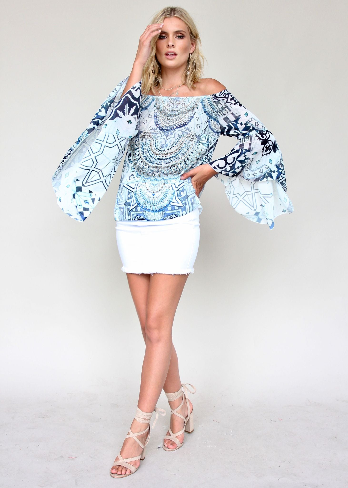 Sacramento Off Shoulder Top - Aquarius