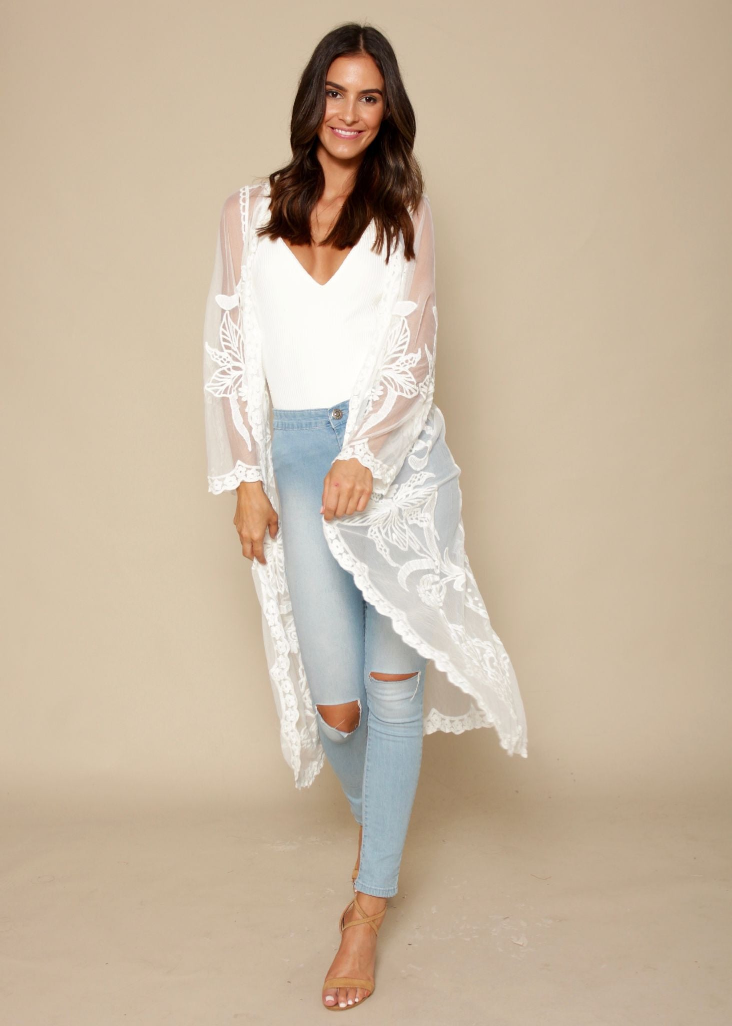 Gardenia Lace Cape - White