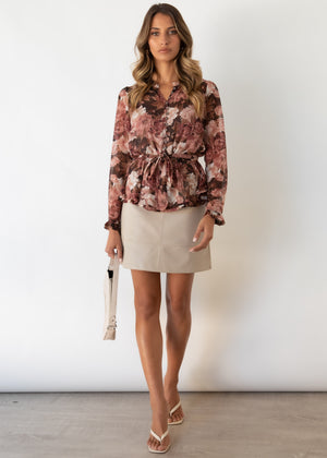 Autumn Blouse - Chocolate Floral