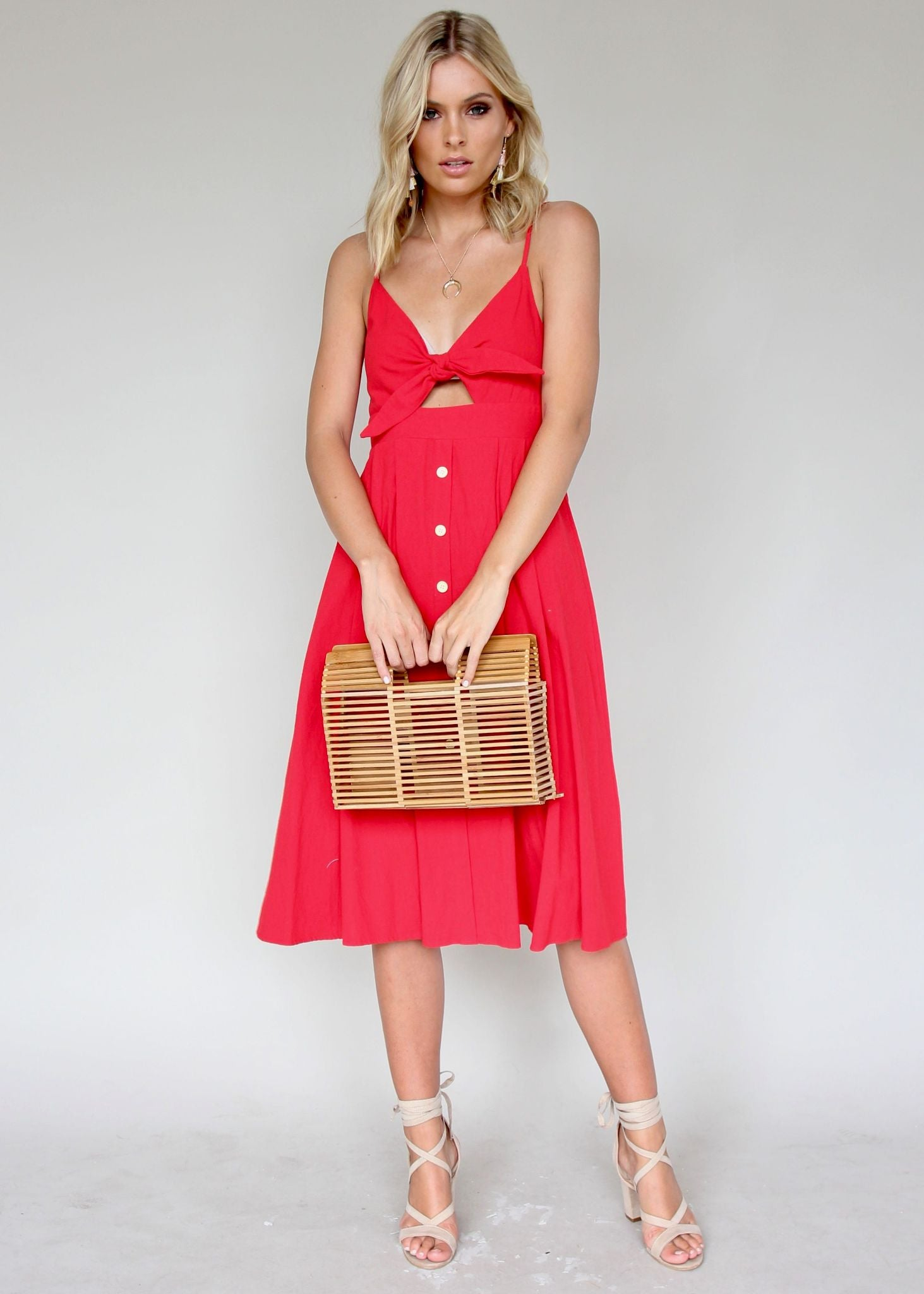 Big City Midi Dress - Red