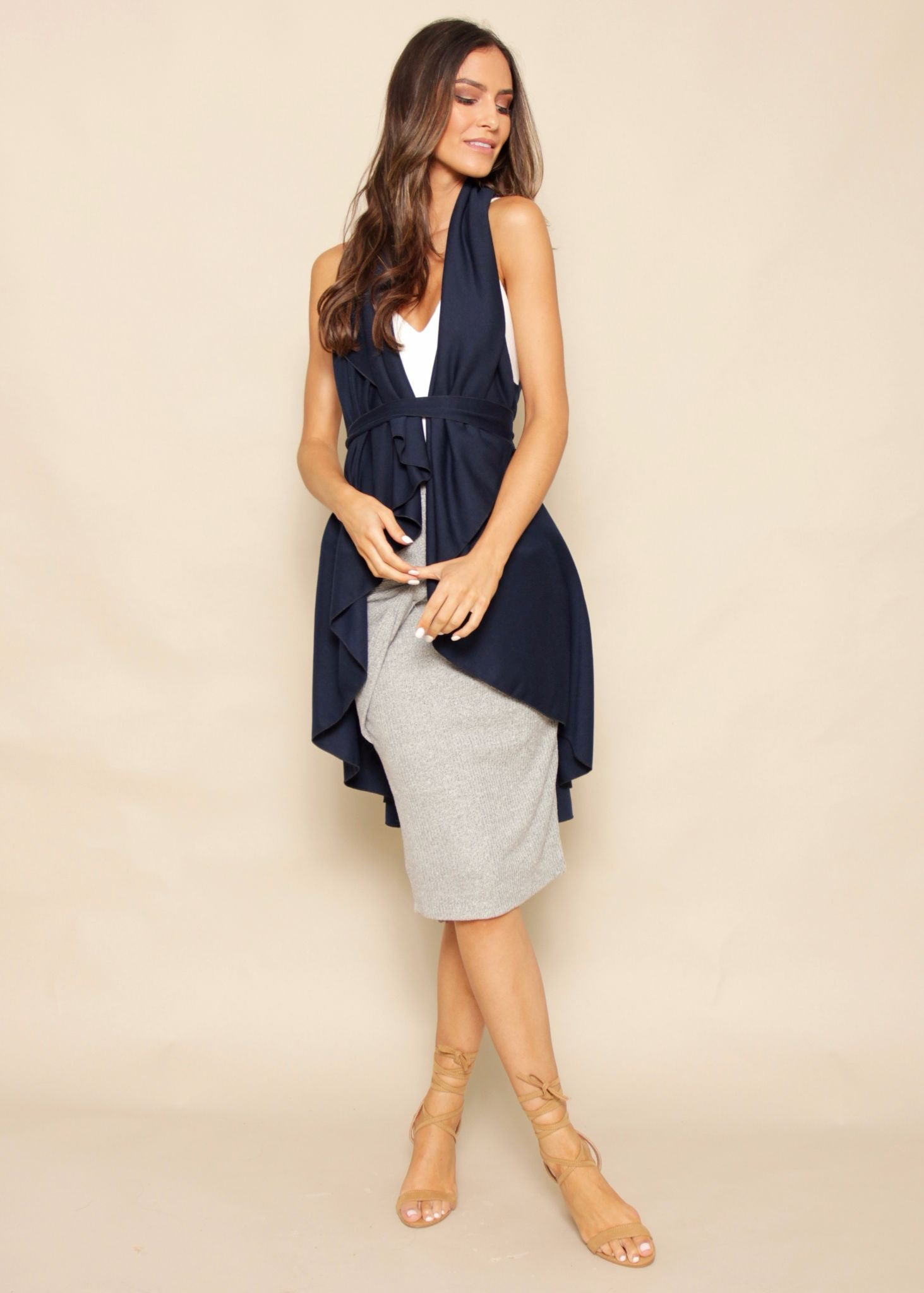 Keep Dreaming Sleeveless Cape - Navy