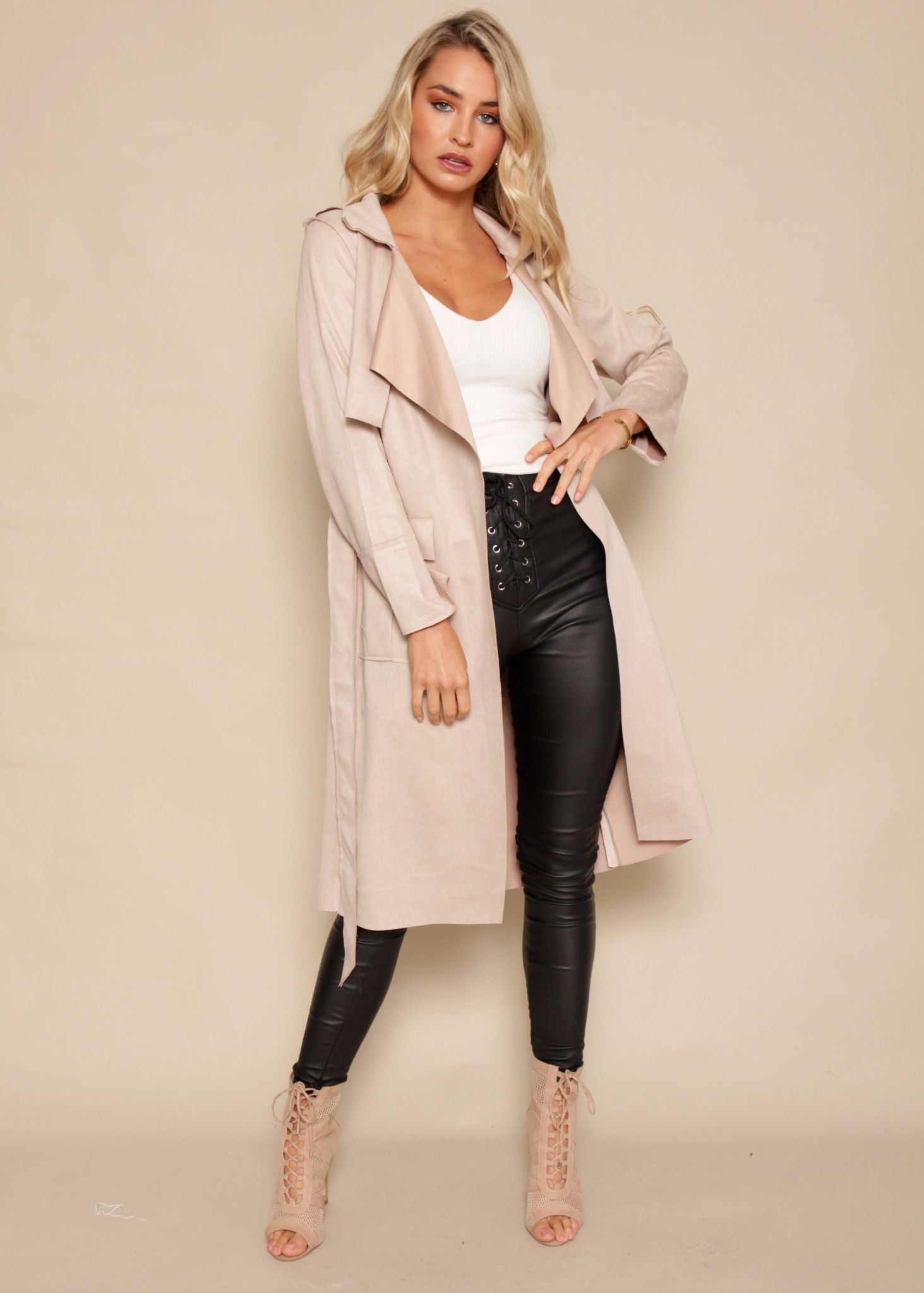 Restless Soul Suede Trench - Blush