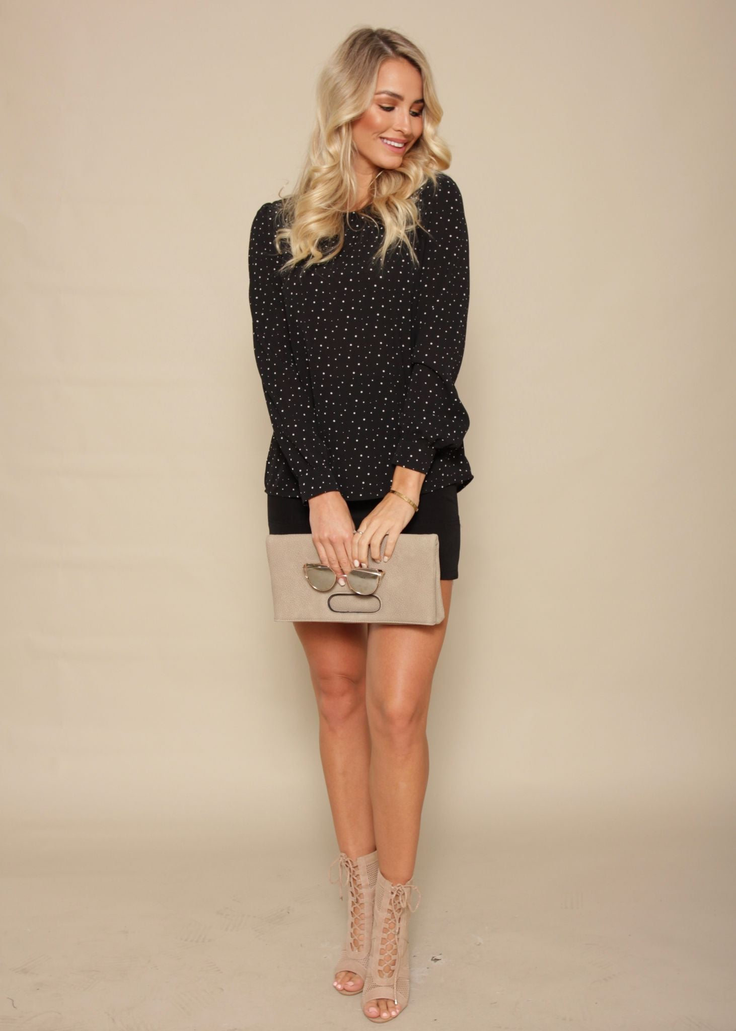 Peace Of You Blouse - Black Polka