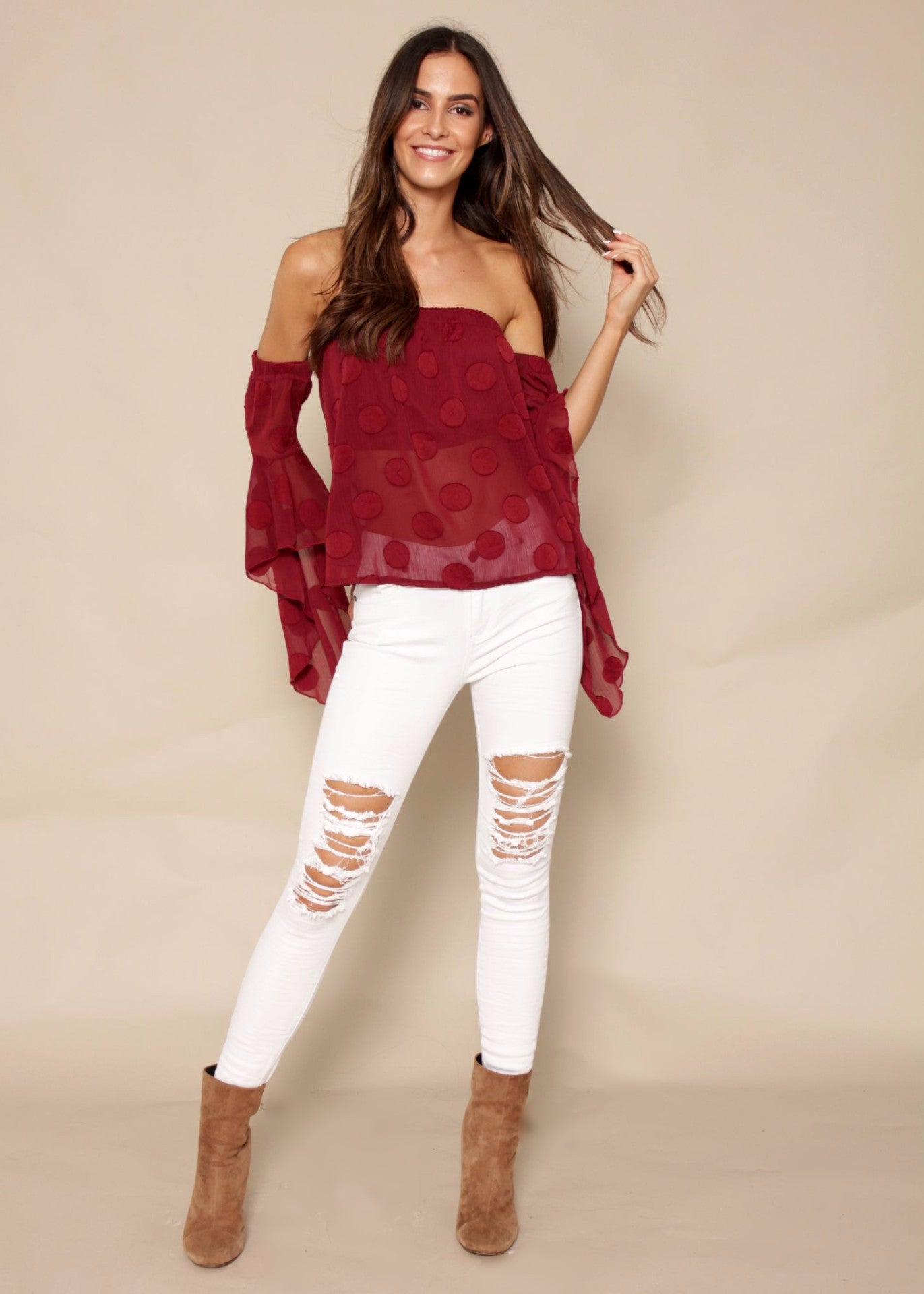 Summer Sun Off Shoulder Blouse - Burgundy Polka