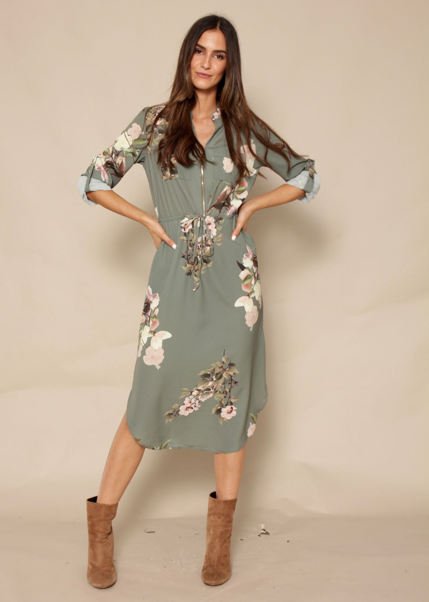 Low Lights Tunic Dress - Khaki Garden
