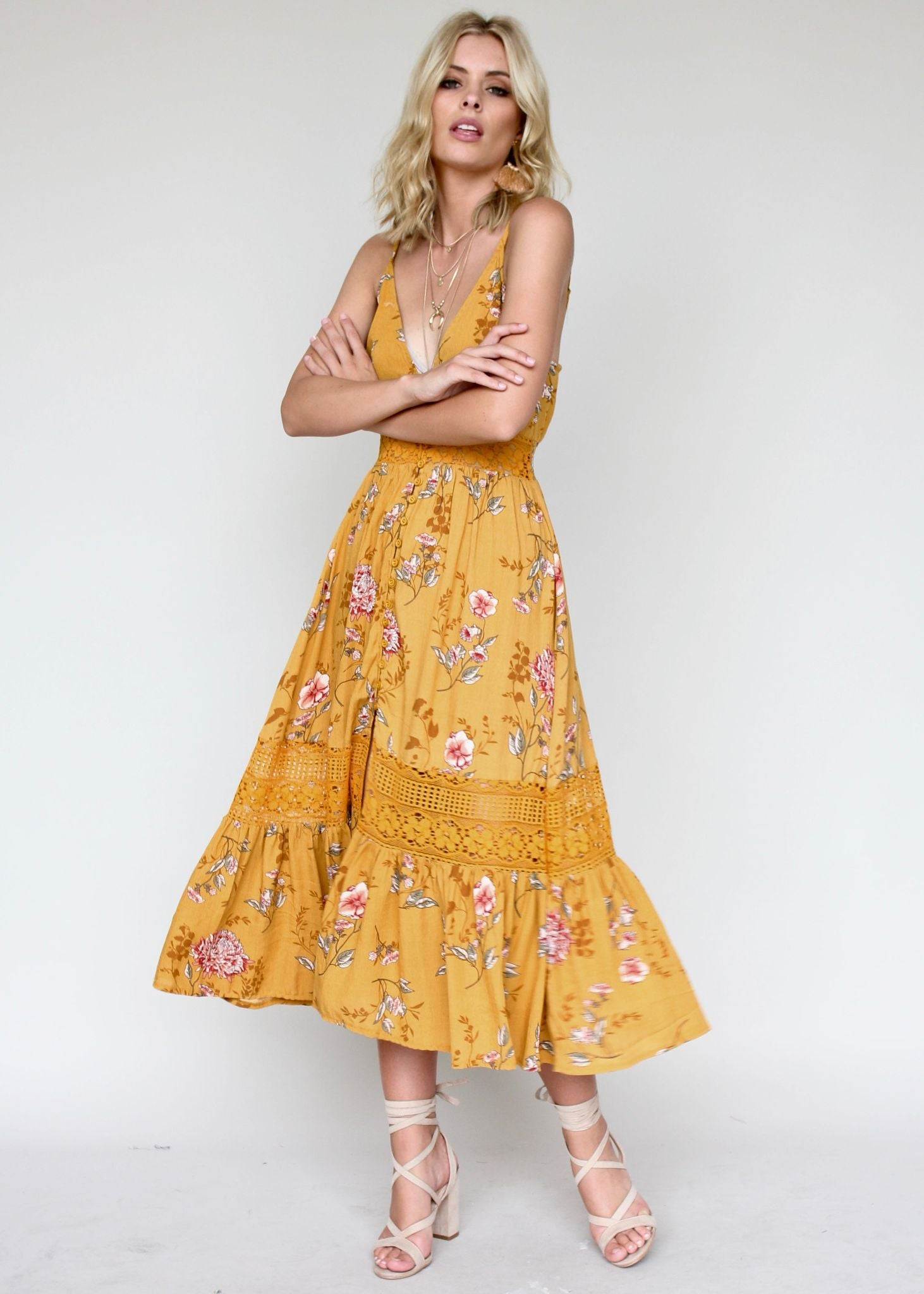 About The Weekend Midi Dress - Mustard Floral