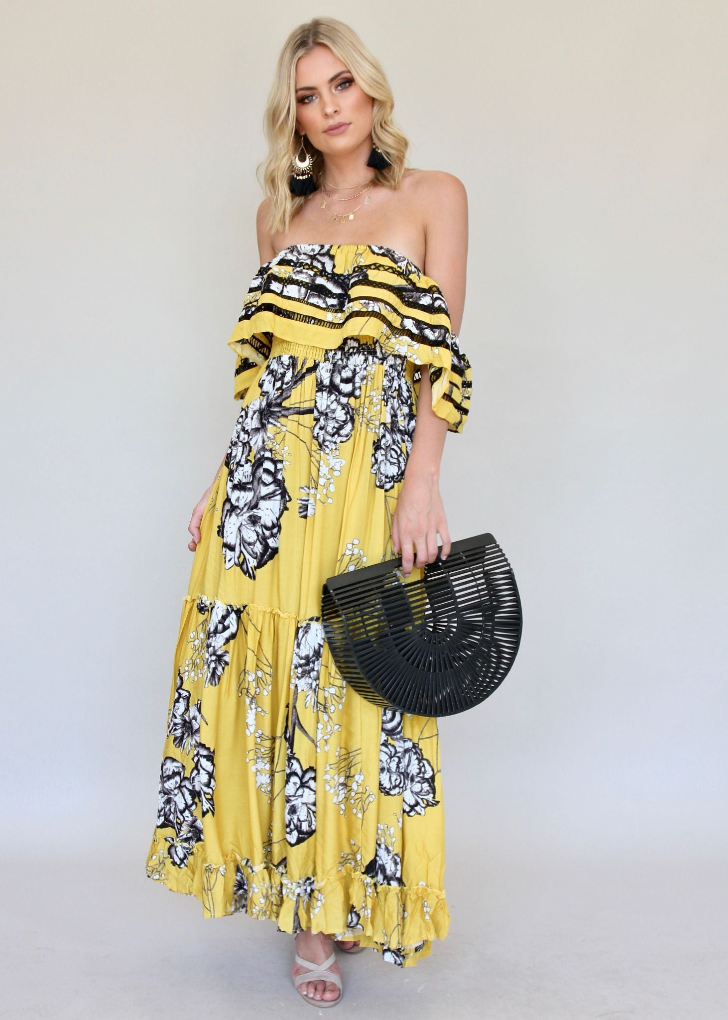 Karlie Off Shoulder Maxi - Golden Lillies