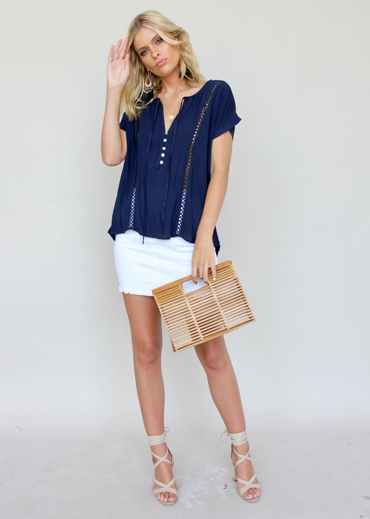 Travel Diaries Top - Navy