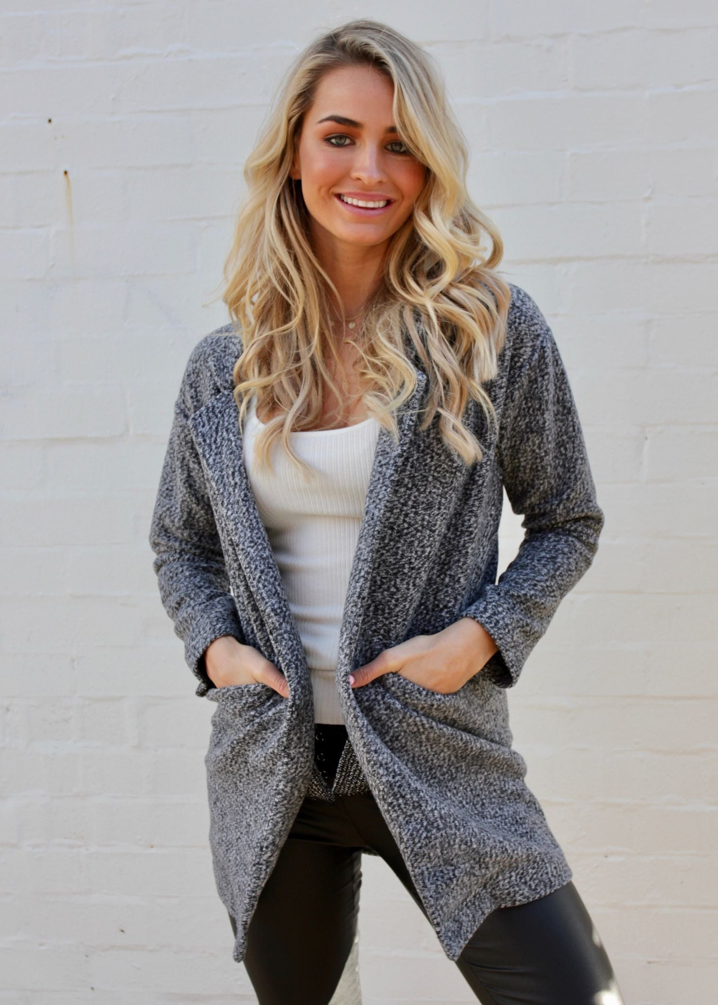 Carried Away Knit Coat - Grey