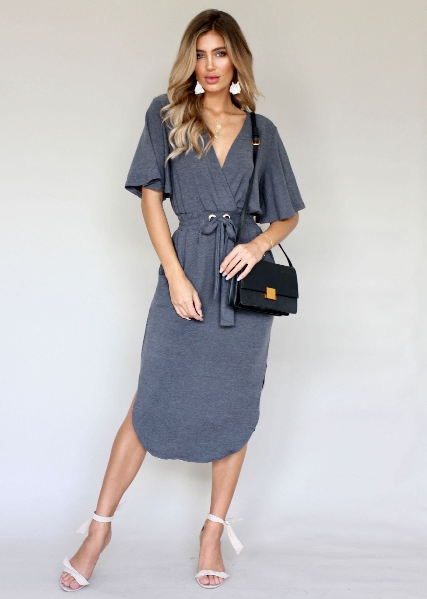 Run & Tell Midi Dress - Charcoal