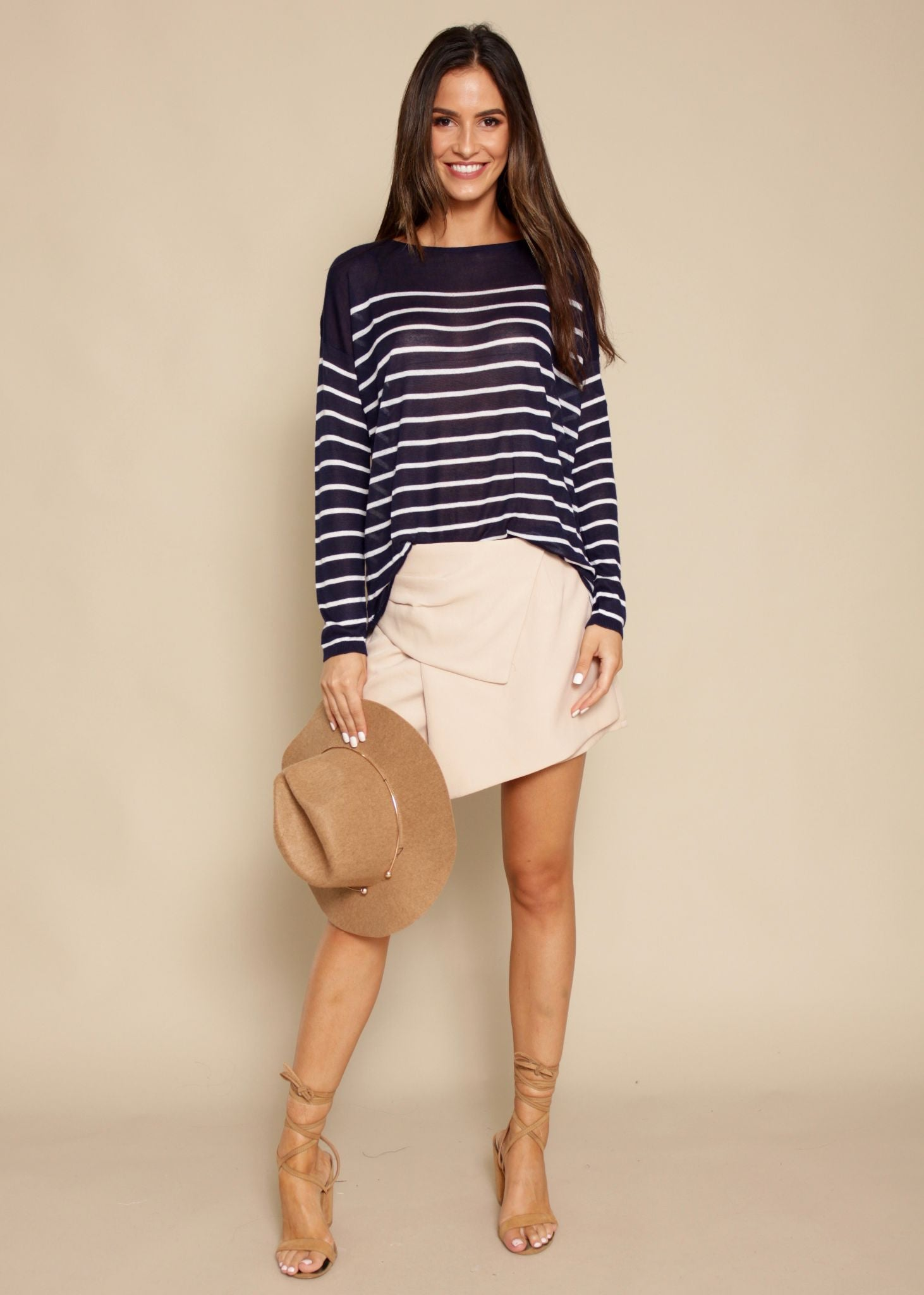 Feeling Free Sweater - Navy/White