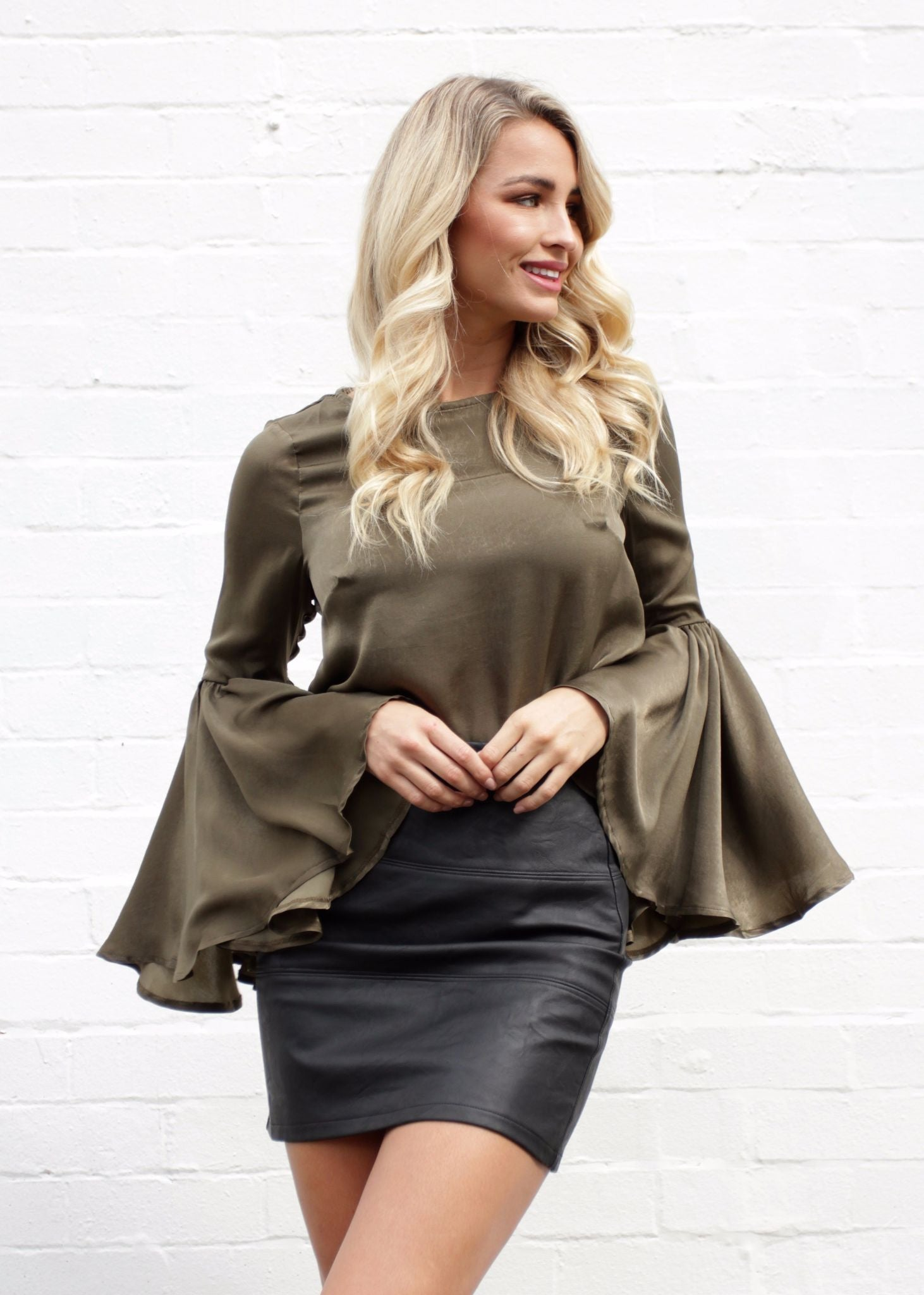 Slip Through Bell Top - Khaki