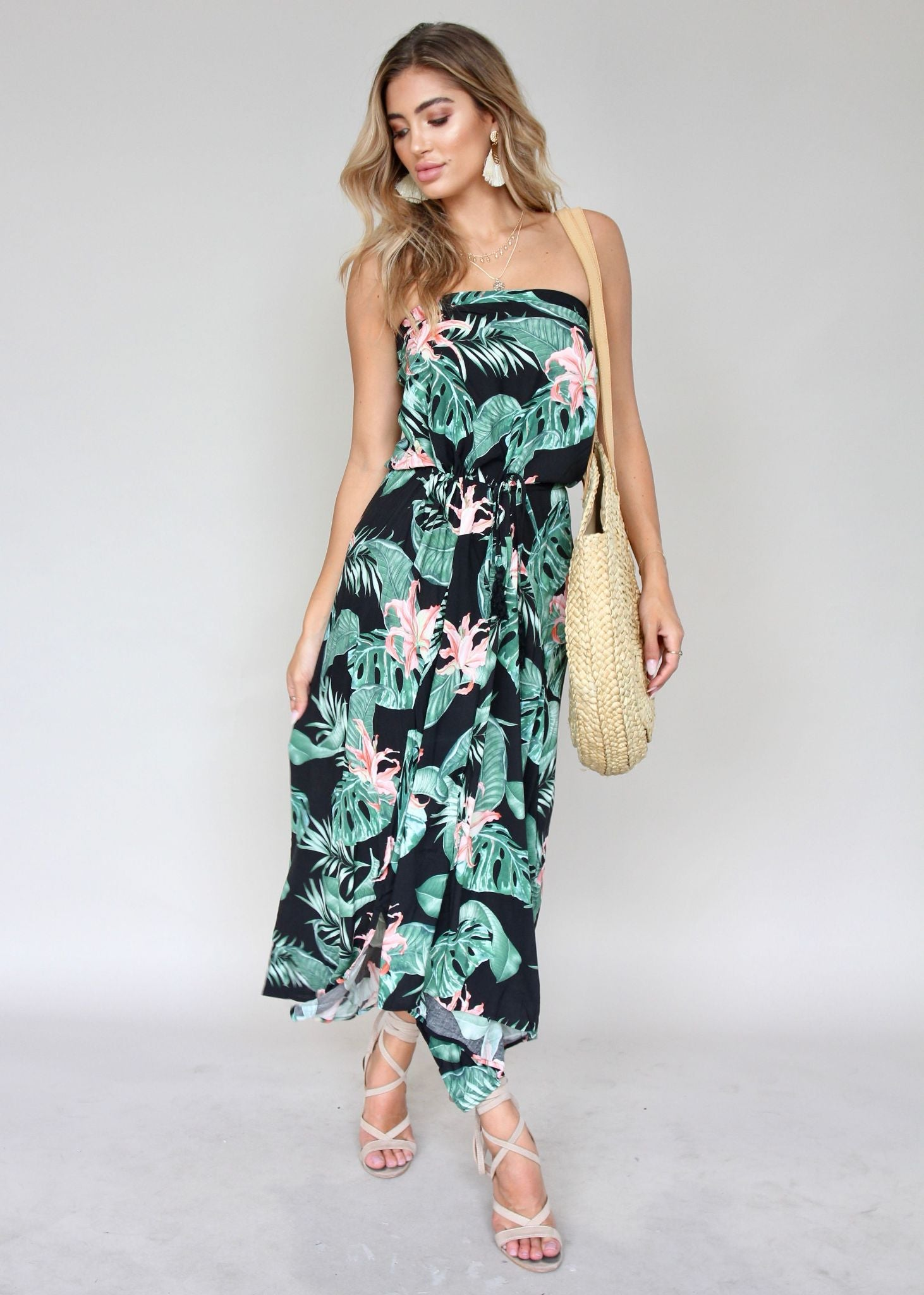 New Freedom Strapless Dress - Black Florida
