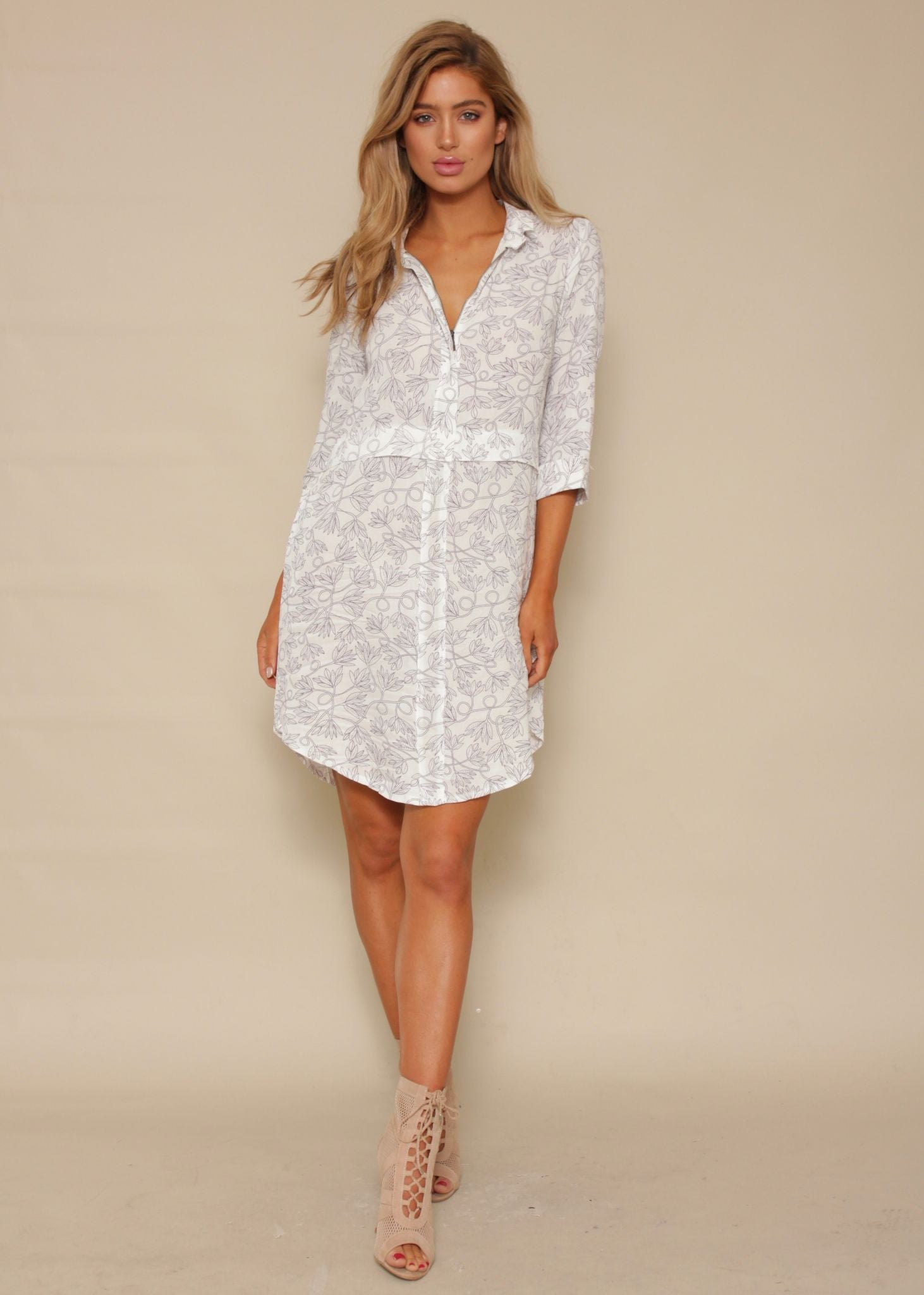 Brixton Zip Shirt Dress - White Vine