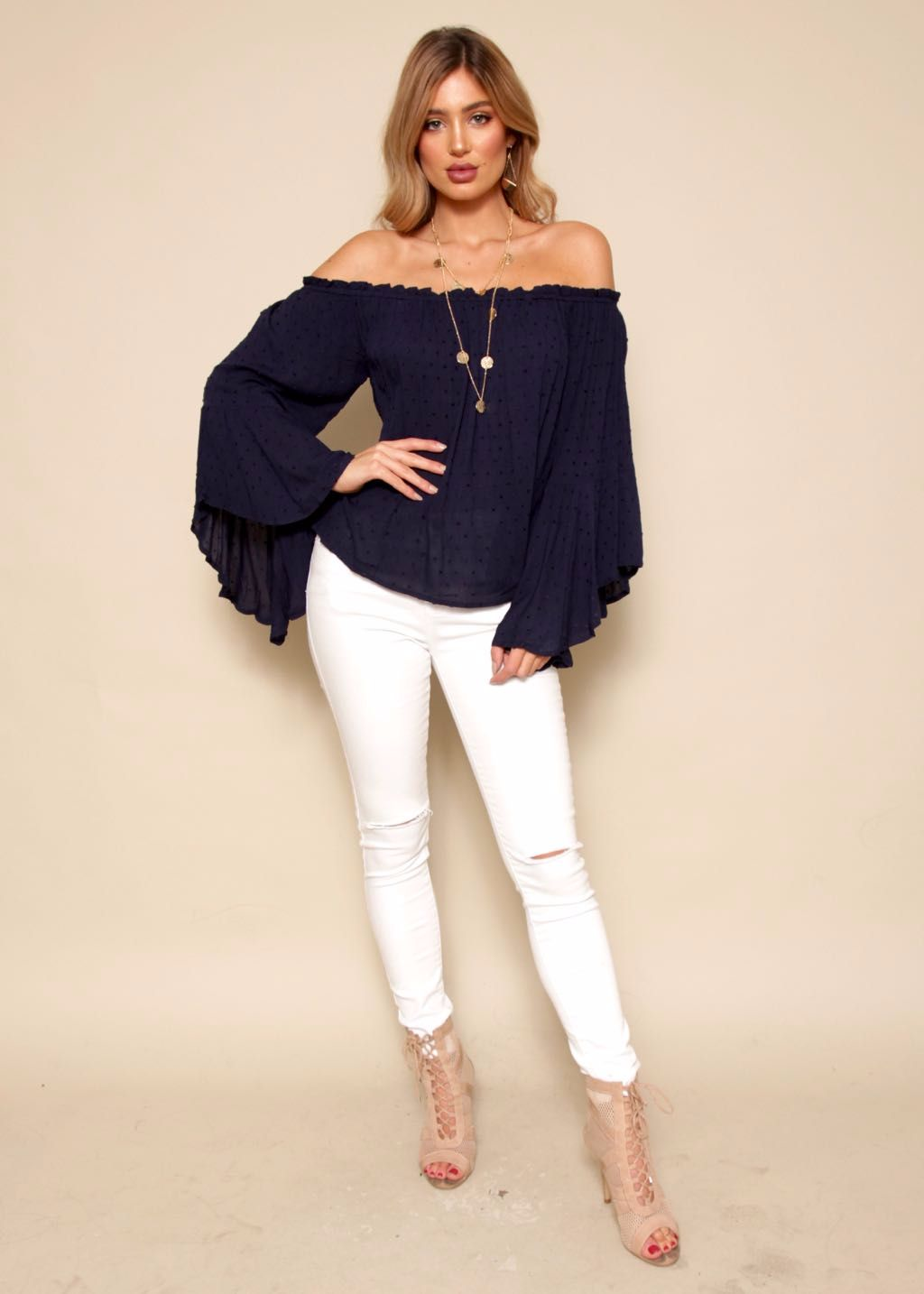 Mayday Off Shoulder Top - Navy