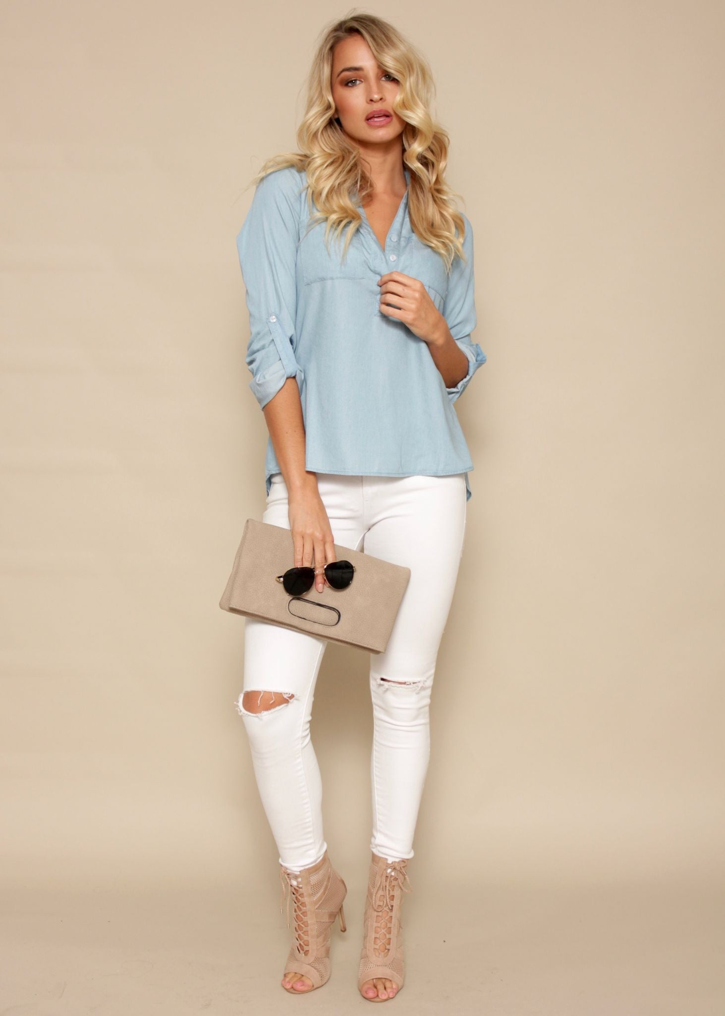 With You Blouse - Denim Wash