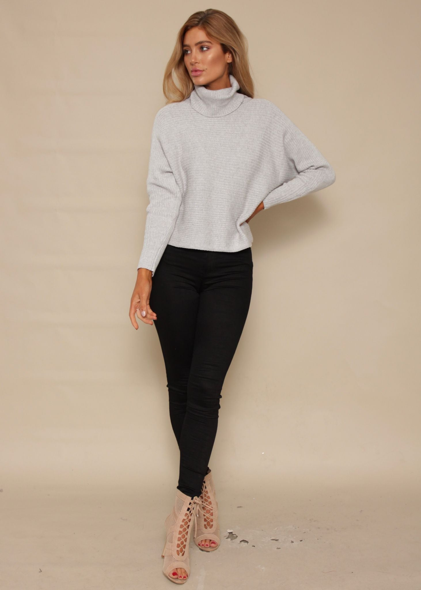 Climbing High Roll Neck Sweater - Grey