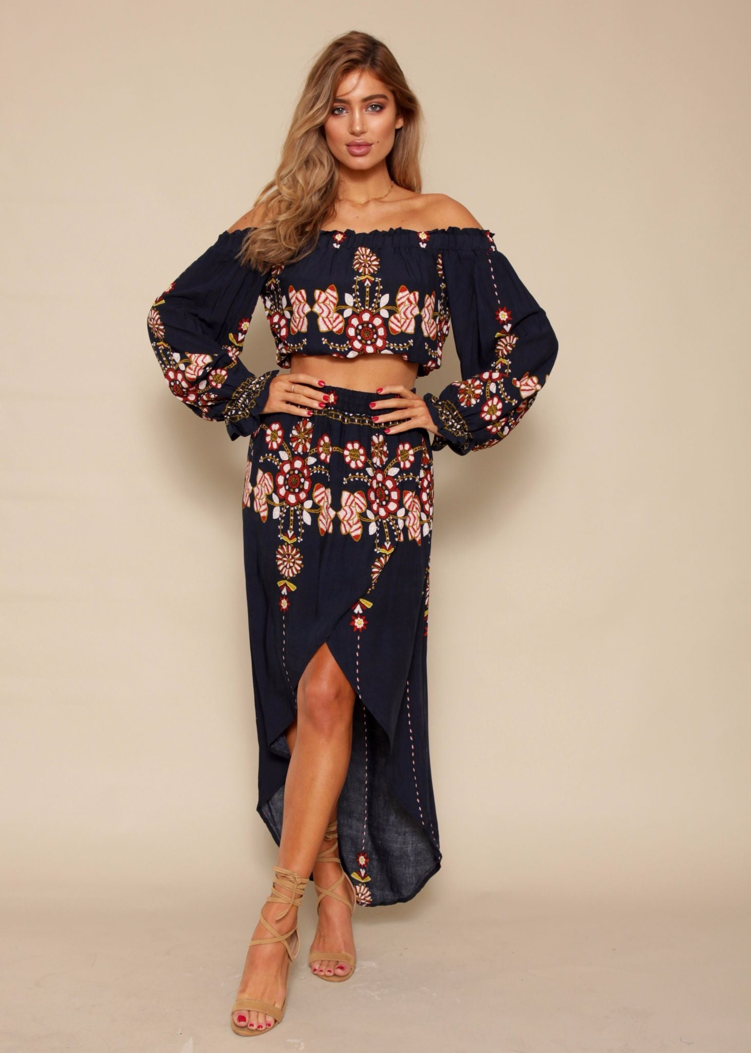 Chasing Forever Off Shoulder Crop - Navy Floral