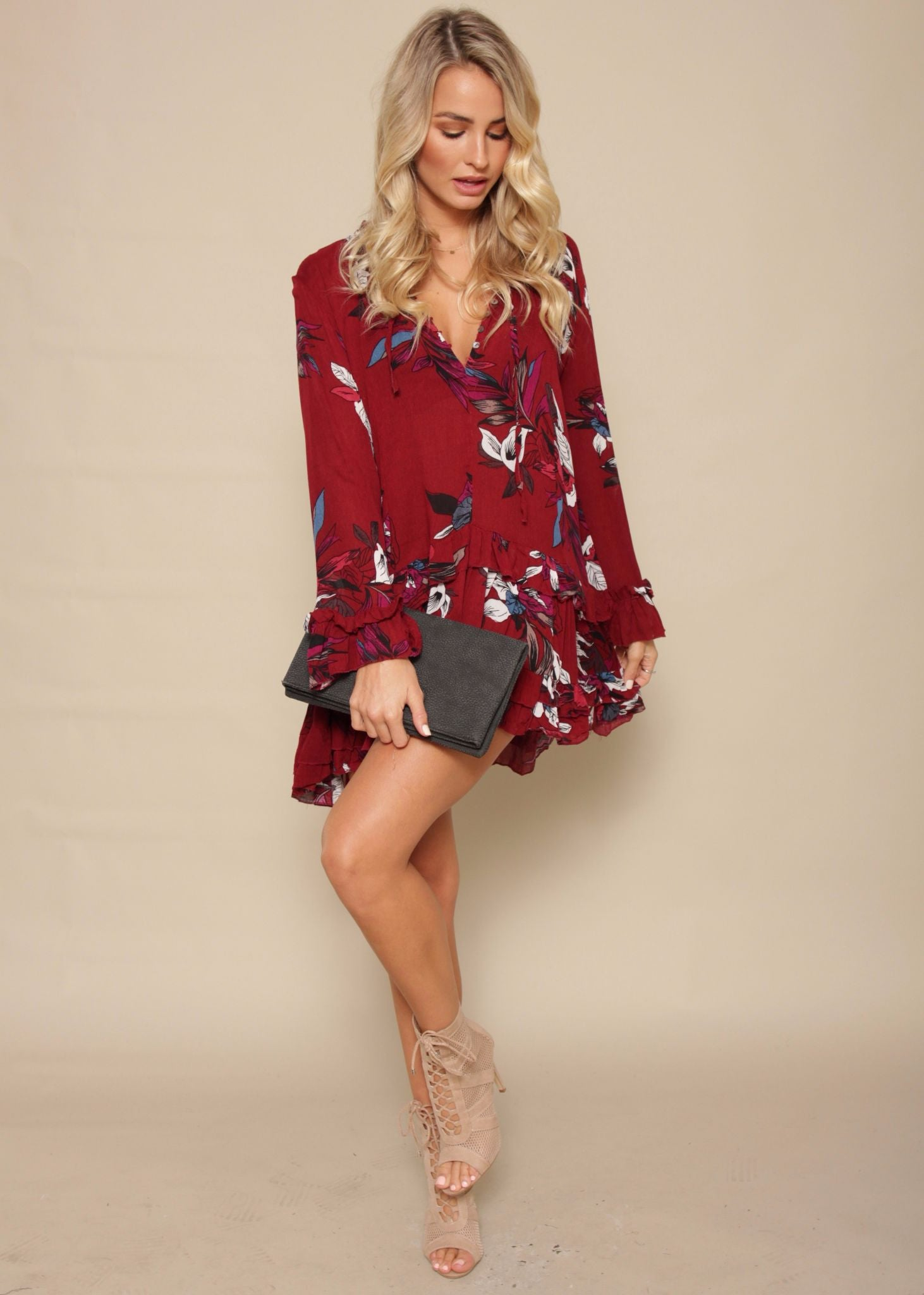 Guessing Game Swing Dress - Wine Garden