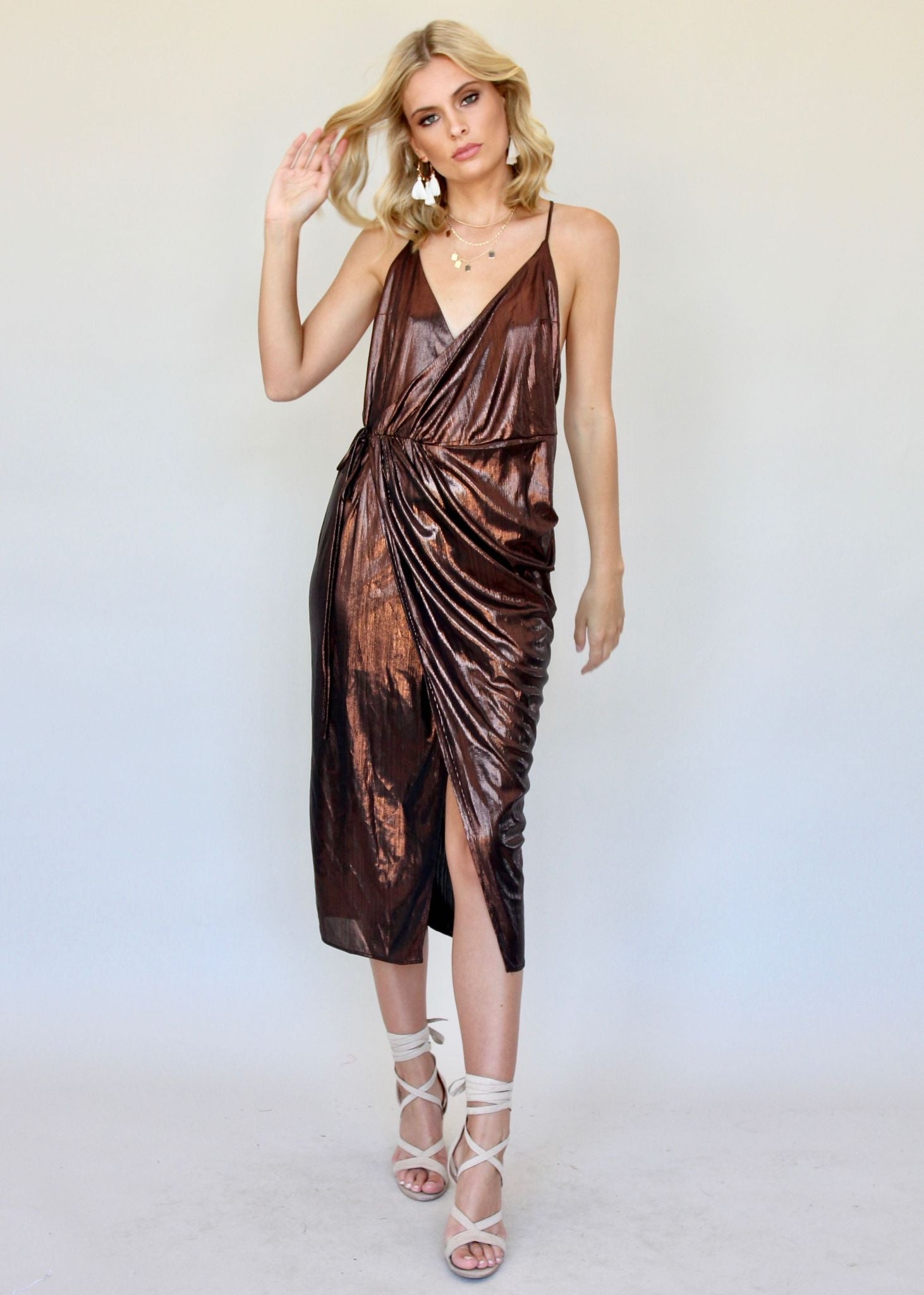 Night Shimmers Midi Dress - Bronze