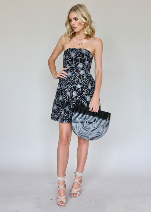 Catch Me Strapless Dress - Black Floral
