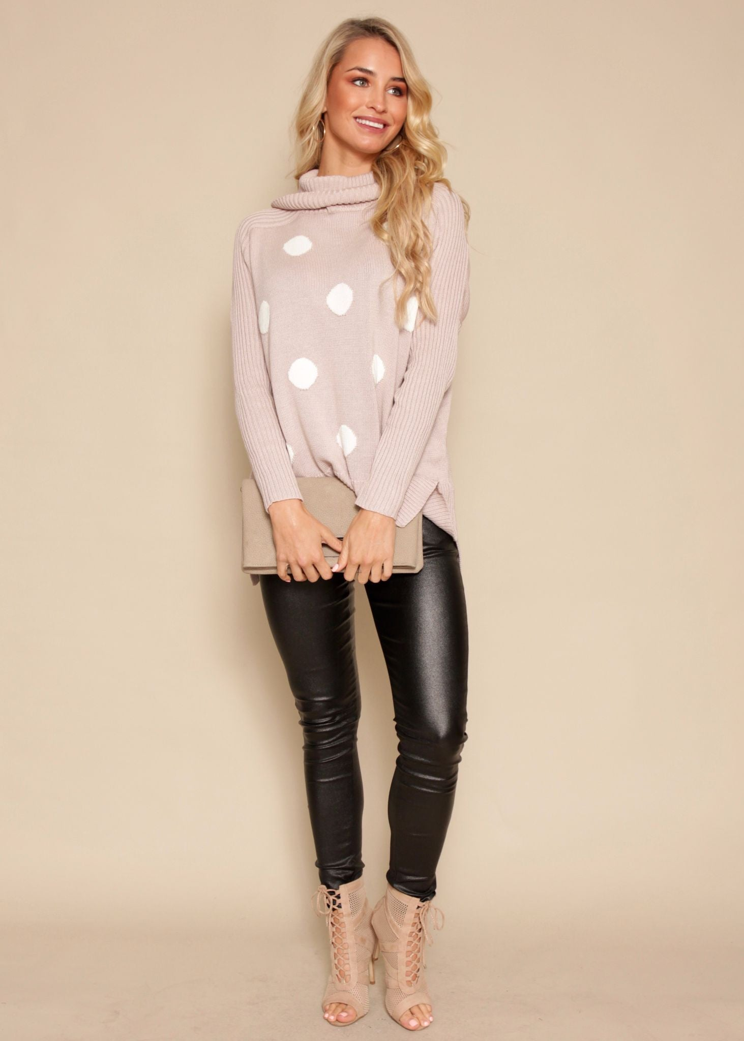 Smile Away Roll Neck Sweater - Blush