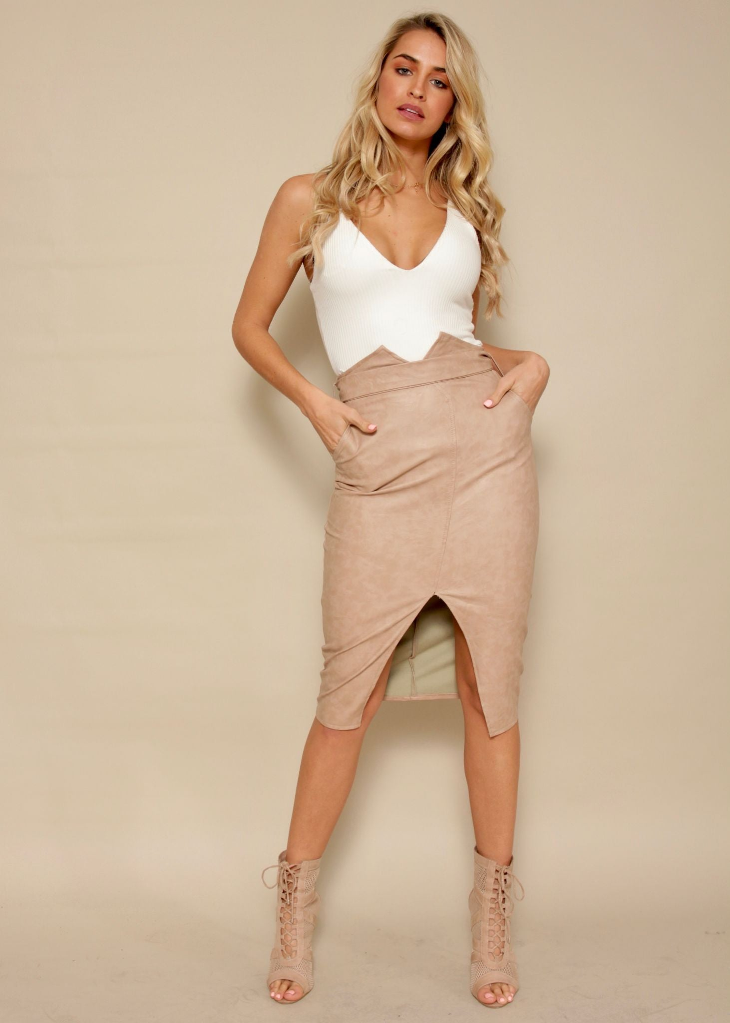 So Slick PU Midi Skirt - Beige
