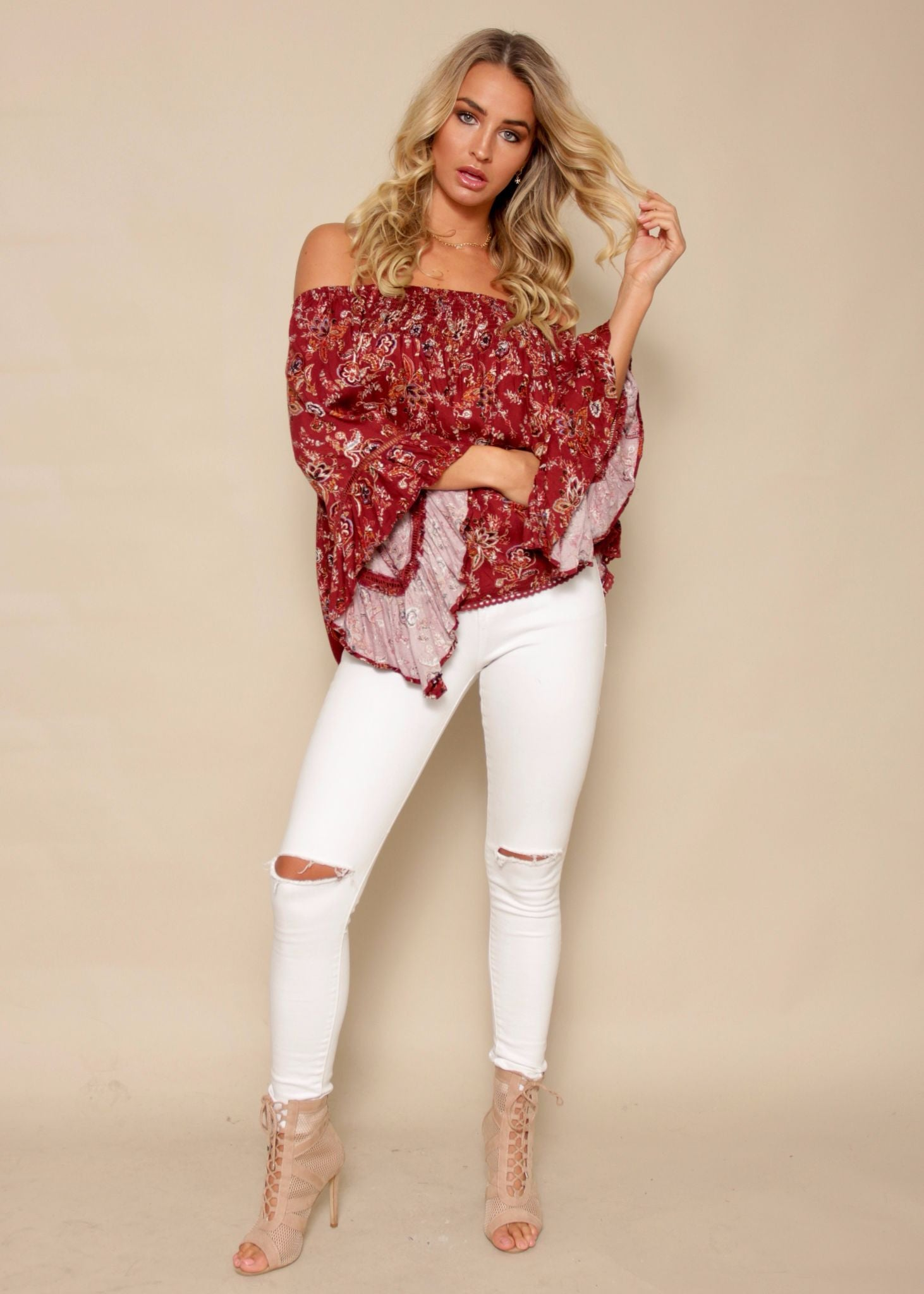 Sugar Night Off Shoulder Top - Burgundy Henna
