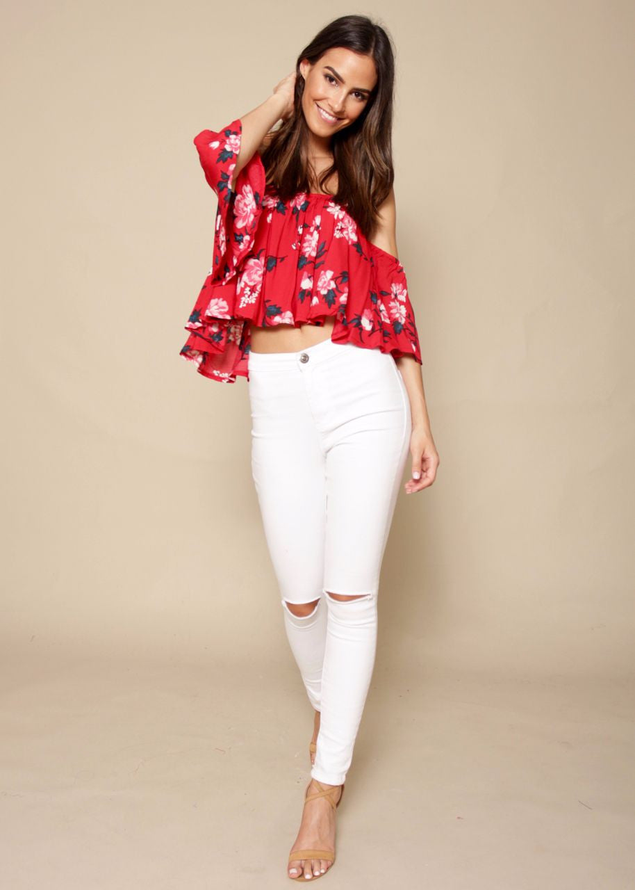 Tahitian Off Shoulder Crop - Cherry
