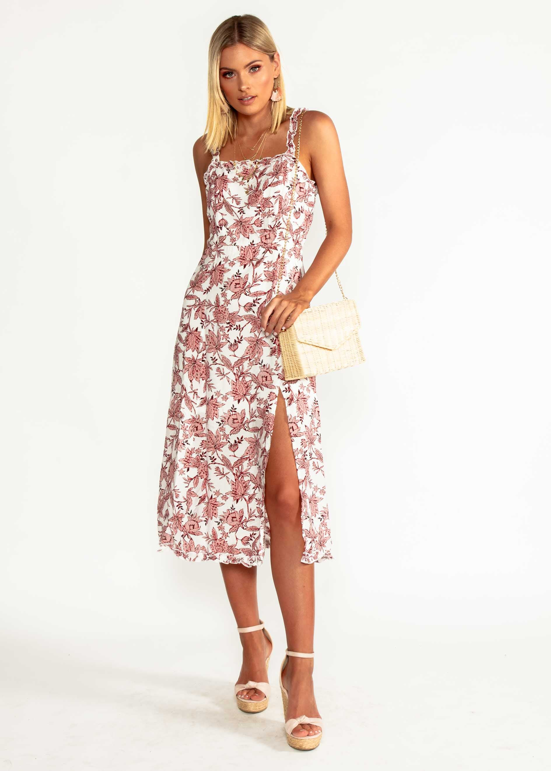 Wildest Dreams Midi Dress - Blush Floral