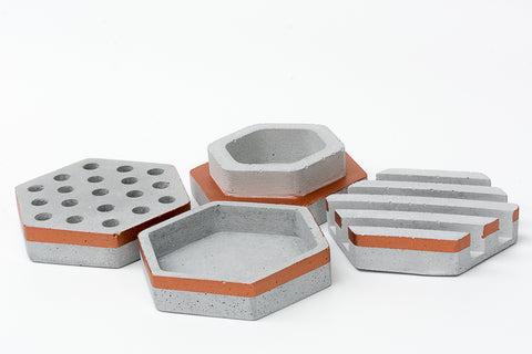 Concrete Quadra Organiser-Grey Copper Collection - Eliteearth