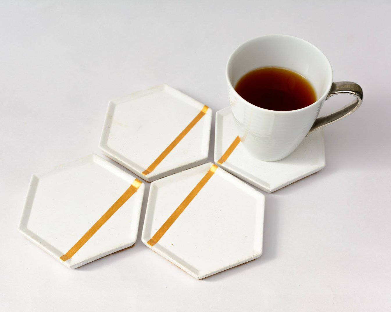 Concrete Style Coasters White - Stripes Collection - Eliteearth