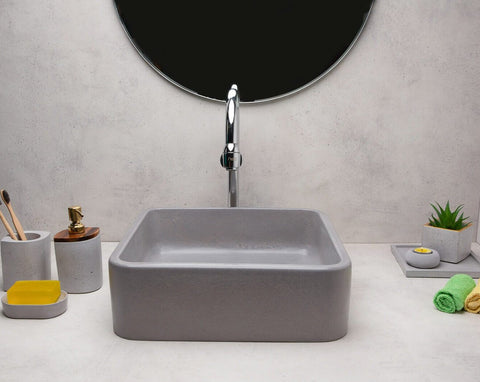 Concrete Ballad Wash Basin-Grey-Eliteearth