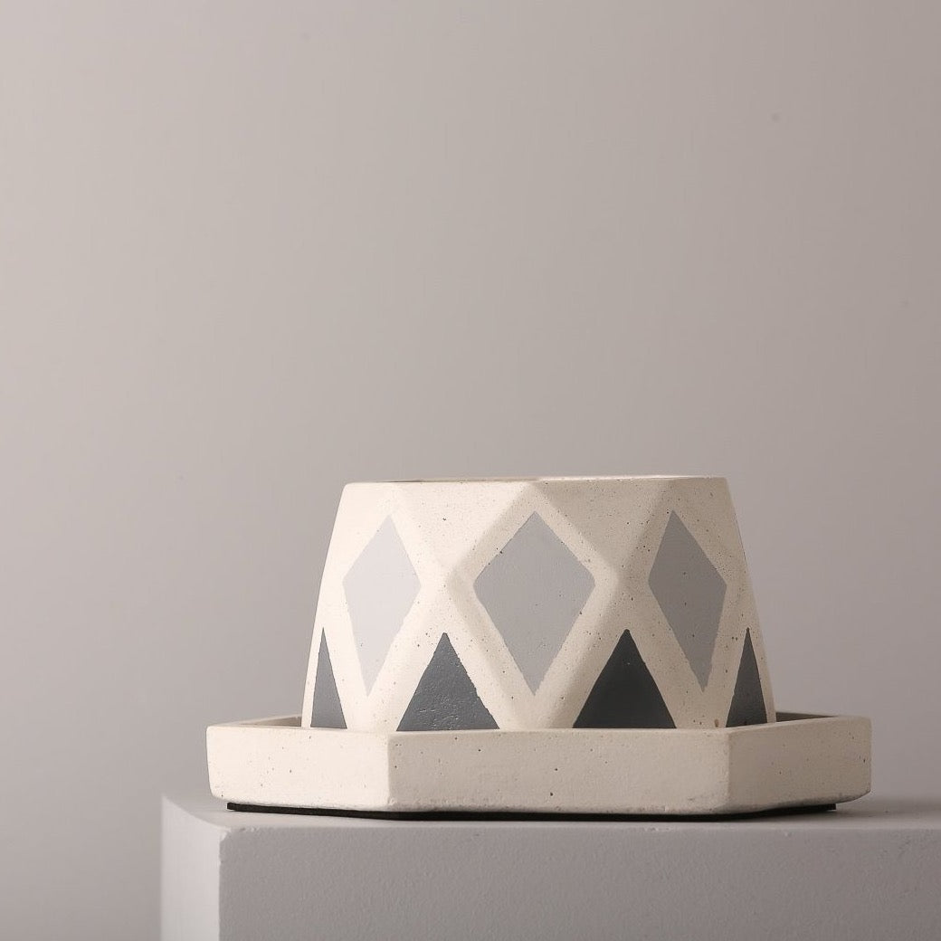 Concrete Diamante Planter - Grey Invertrix Collection - Eliteearth