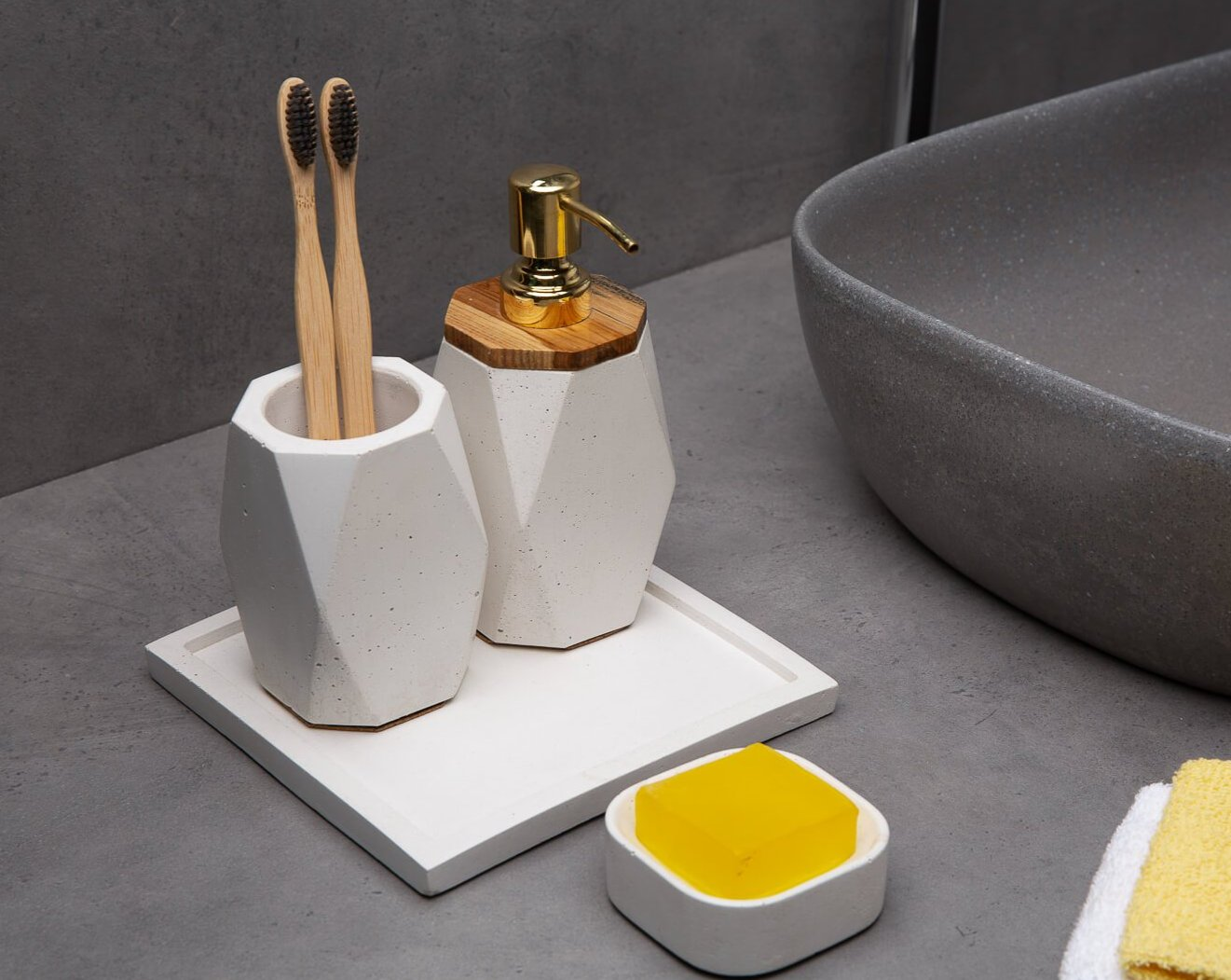Concrete Frost Bath Accessories Set-Eliteearth