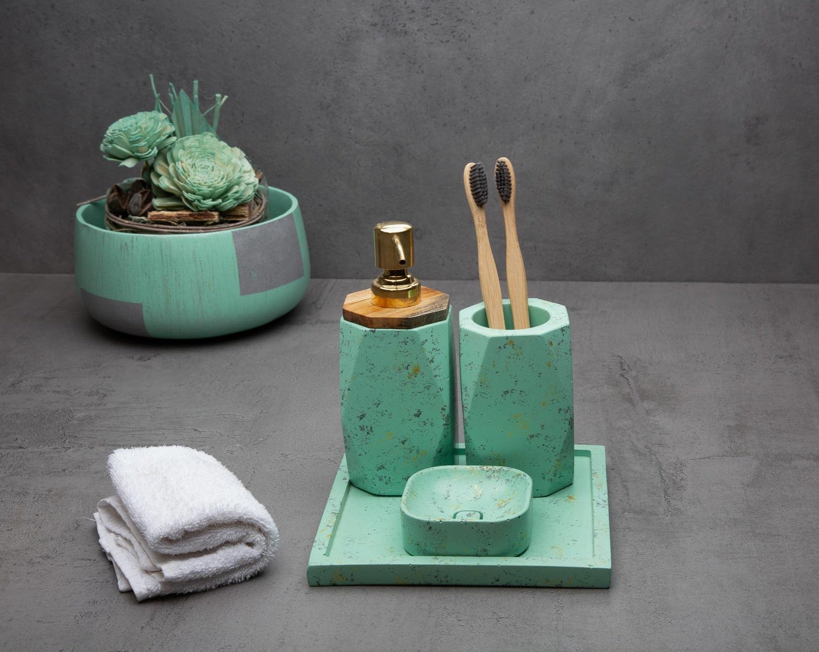 "Concrete Frost Bath Accessories Set-""Cherish "" Asian Paints Colour of the year 2021 Collection-Eliteearth"