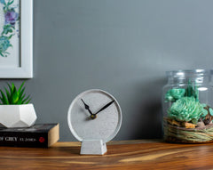 Concrete Mini Moon Tabletop Clock Grey-Eliteearth