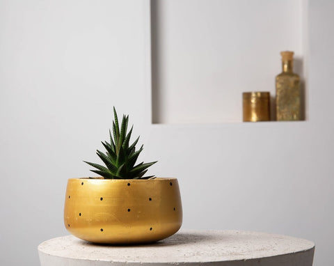 Concrete Modern Vessel Planter Gold - Handpainted Collection-Eliteearth