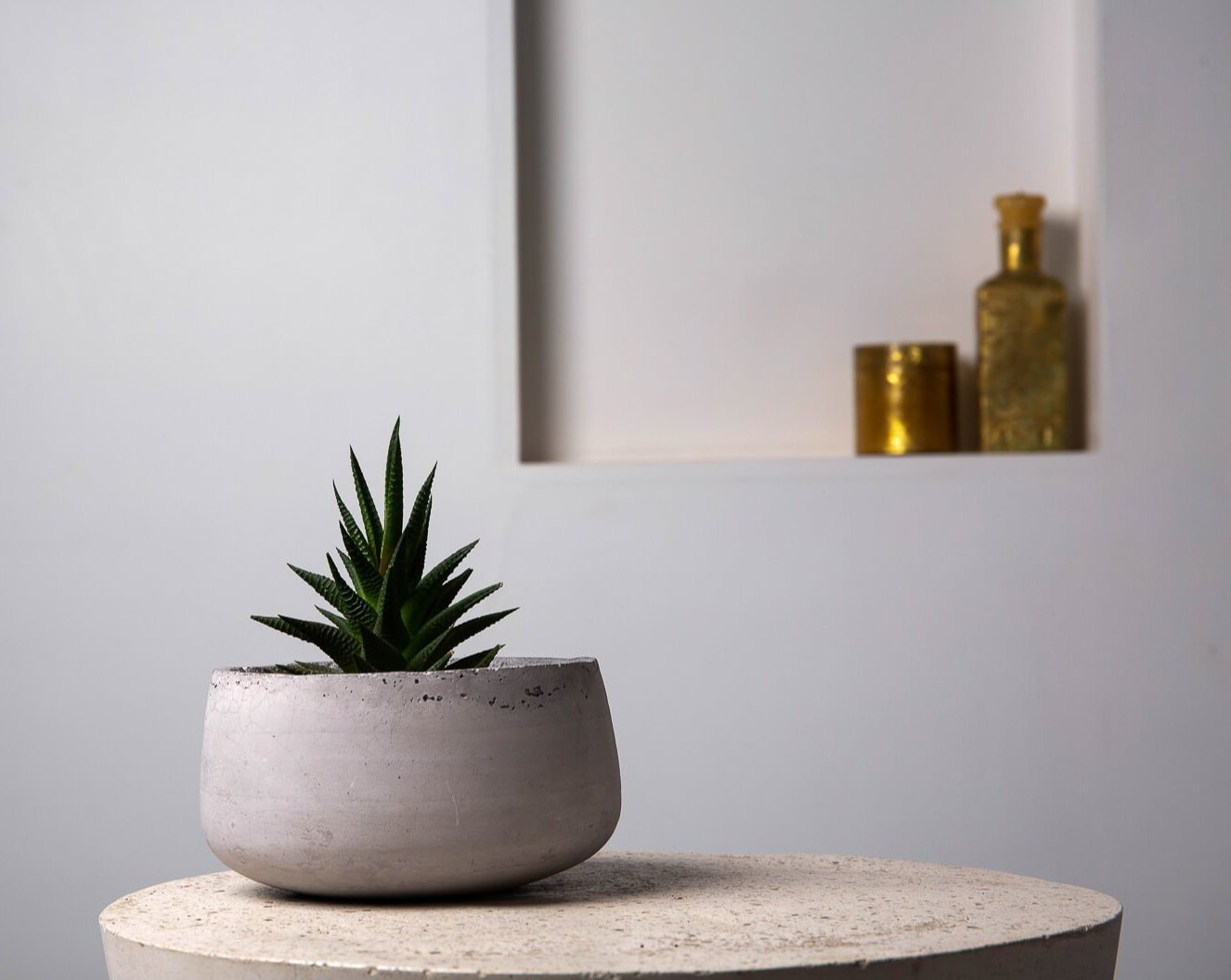 Concrete Modern Vessel Planter Grey - Handpressed Collection-Eliteearth