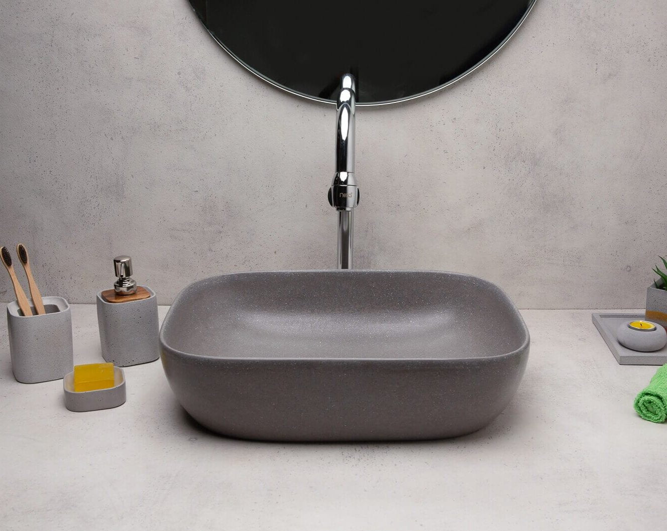 Concrete Ode Wash Basin-Grey-Eliteearth