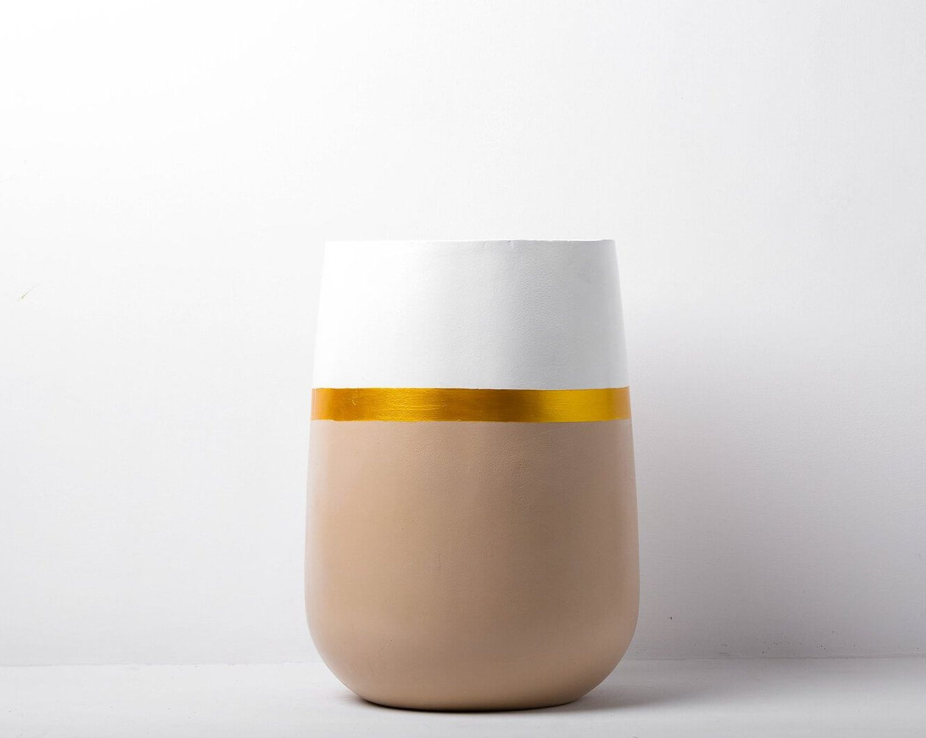 Concrete Parabola Planter White/Beige - Handprinted Collection-Eliteearth