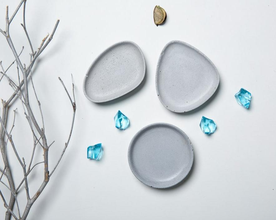 Concrete Pastel Halo Trinket Dish Set - Grey-Eliteearth
