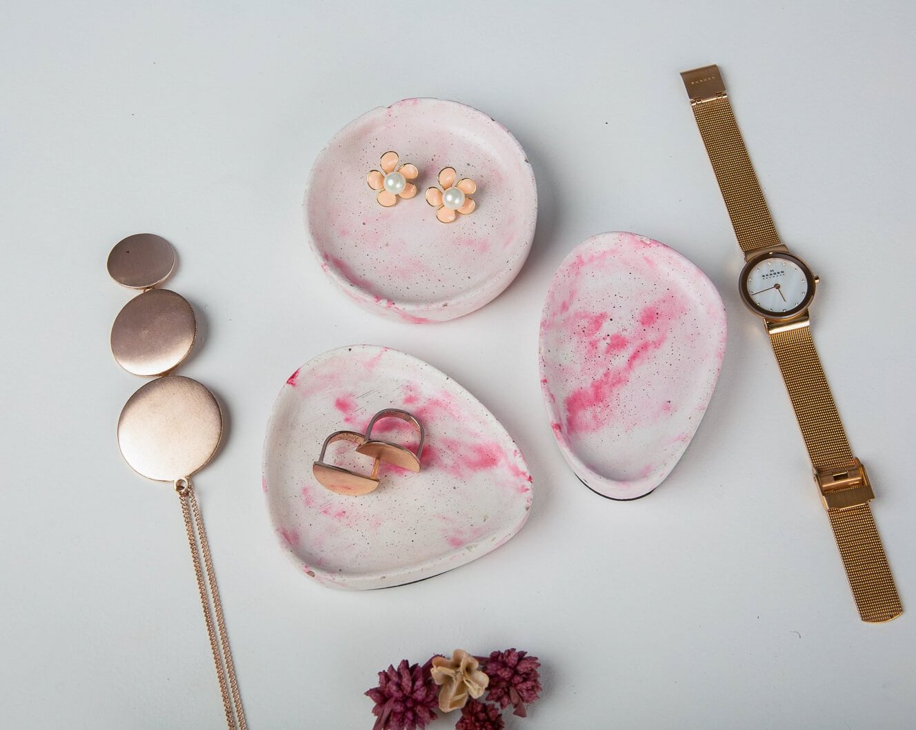 Concrete Pastel Halo Trinket Dish Set - Pink-White-Eliteearth
