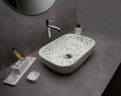 Concrete Sestina Wash Basin - Green n Blue Terrazzo-Eliteearth