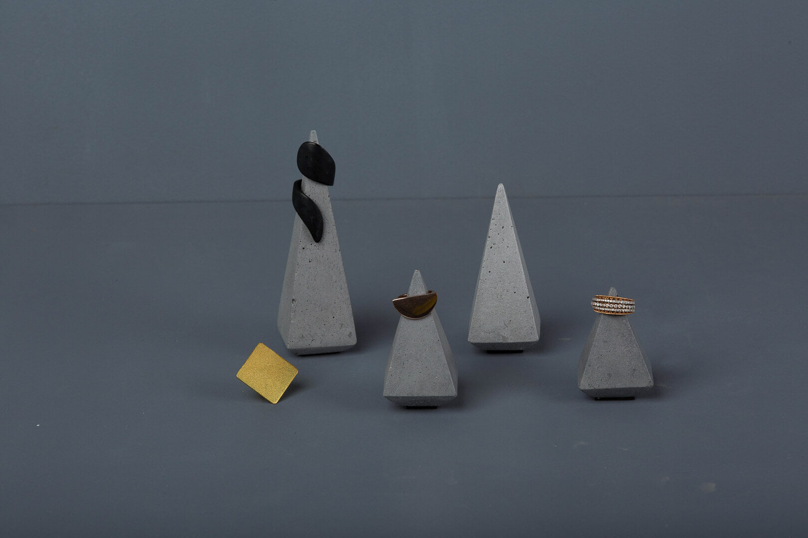 Concrete Soft Prism Jewellery Stands-Grey